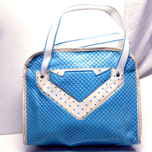 Blue Quilted Chevron purse makeup handbag box bag